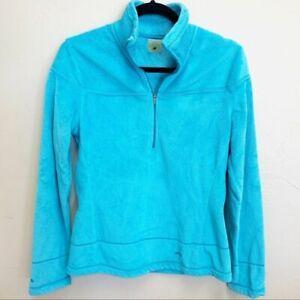 Koppen Women's Turquoise Mock Neck Half-Zip Pullover Fleece Jacket Size M