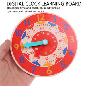 Wooden-Colorful-Clock-Cognition-Clocks-For-Kids-Early-Preschool-Teaching-ADD