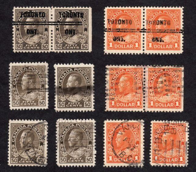 Canada King George V Admiral 50c & $1, 1925, Scott 120 & 122, Used, VF