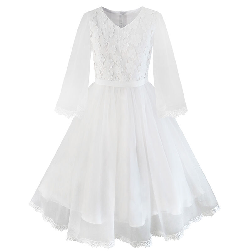 Sunny Fashion Flower Girls Dress White Wedding Pageant Bridesmaid Gown Size 3-10