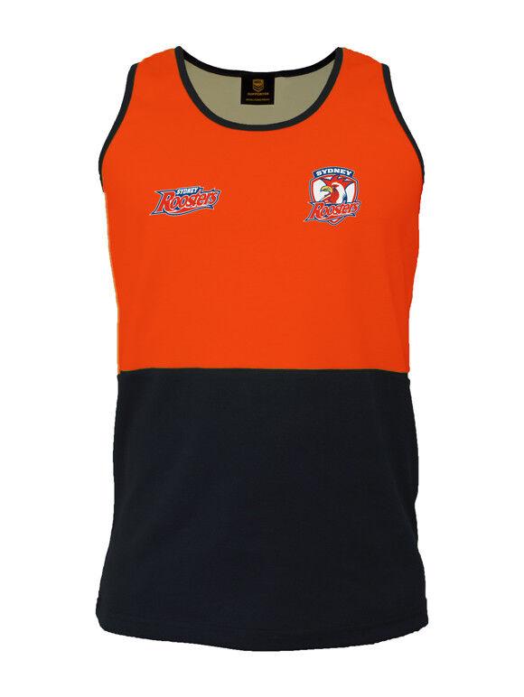 Sydney Roosters NRL HI VIS Singlet Work Shirt  orange Navy Tradies