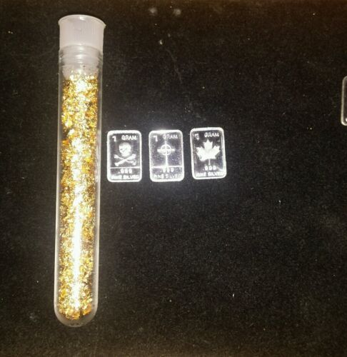 $ $ 3 1gram silver bar and 1of  my big viles of gold leaf #52