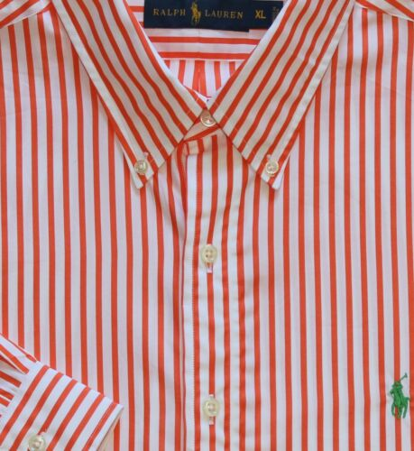 New Ralph Lauren Long Sleeve Orange White Bengal Striped Shirt BIG 4X
