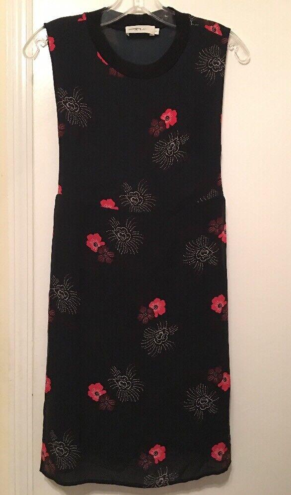 165. A. L. C. Black Silk Red Floral Sleveless Silk Dress New 2