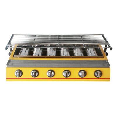 LPG Gas BBQ Barbecue Grill 6 Burners Yellow 790*250mm Baking Wire Mesh Smokeless