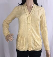 True Vintage Bernie's Brood Cardigan Sweater  Pale Yellow Textured Thin Knit - S