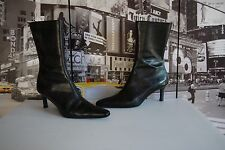 POLO RALPH LAUREN BOOTS SNAKESKIN 8 B WOMENS black LEATHER LIZARD ANKLE ITALY