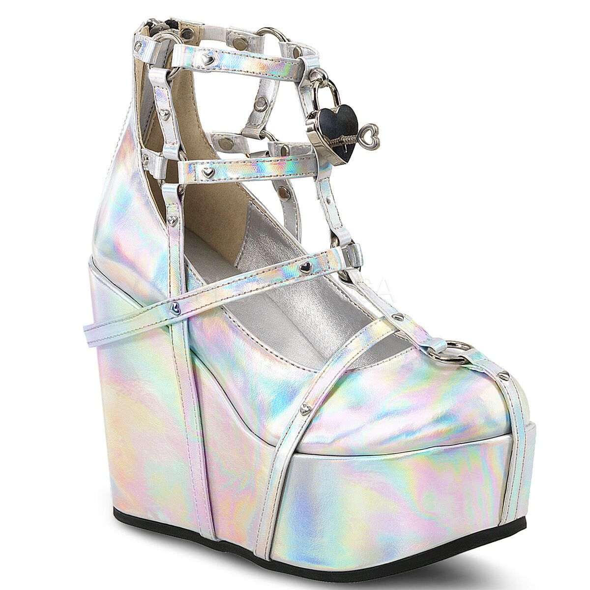 Demonia 5  Silver Hologram Platform Heart Charm Studded Cage Strap Booties 6-12