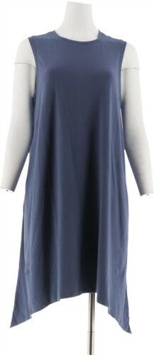 AnyBody Loungewear Cozy Knit Sharkbite Swing Dress Indigo M NEW A289835