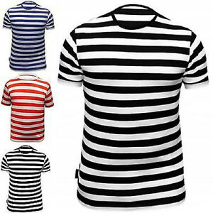 Men s T Shirt Striped Top Red Black Blue and White Dress Crew Neck ... 03f4e184f
