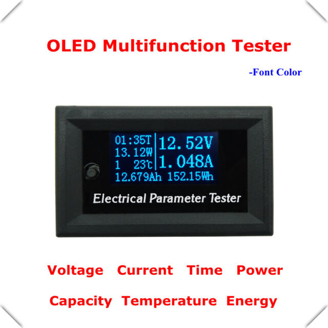 7in1 OLED Multifunction Meter 100V 10A Voltage Current Time Temperature Capacity
