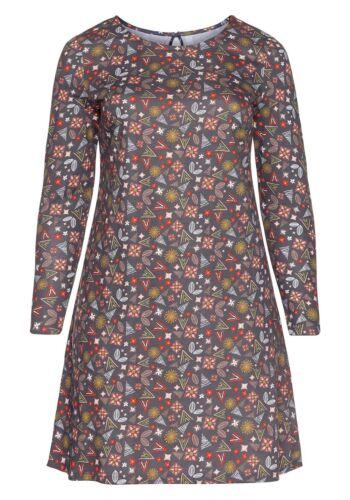 Sheego Damen Jersey Kleid Dress Abend Blumen Grau Grey Freizeit Langarm NEU