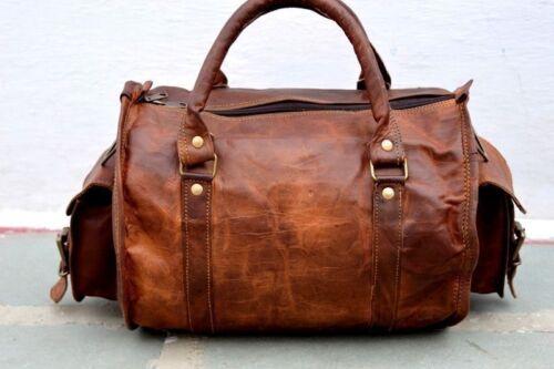 Genuine Brown Soft Leather Men/'s Handmade Travel Tote Duffle Gym Shoulder Bag