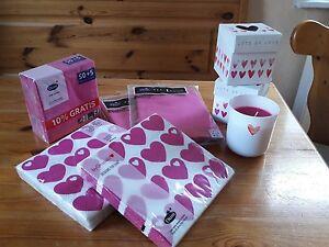 Muttertag Party Servietten Kerzen Herzen Tischdeko Pink Landhaus