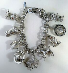 Vintage-Monet-Silver-Tone-9-Charm-Bracelet-Chunky-Big-Bull-Globe-Dog-Mouse-Horse