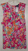 Womens Chaps Petite Pretty Bright Floral Knit Tank Top / Shell Size P/l