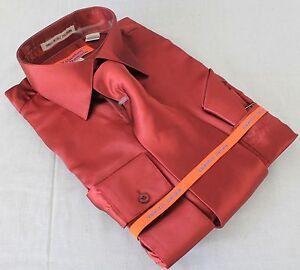 Mens-Satin-Shiny-Burgundy-Dress-Shirt-With-Tie-Hanky-Karl-Knox-Convertible-Cuff