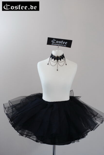 Gothic Lolita Petticoat tütü schwarz Rock mini Unterrock 34cm lang Taillen bis78