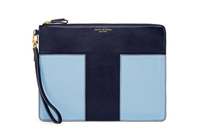 62d6bec3bd0 Tory Burch Block-t Large Leather Wristlet Pouch Clutch Navy Blue for ...