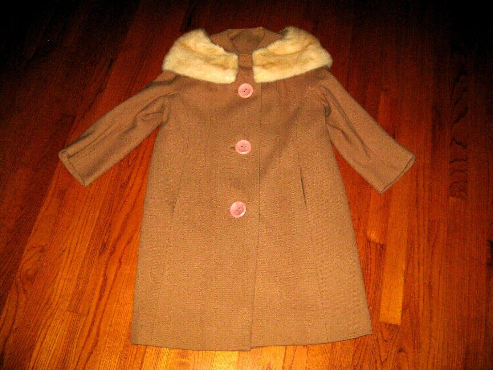 VTG Women's 1950s Black Swing Coat Fur Collar Joseph Stein 50s
