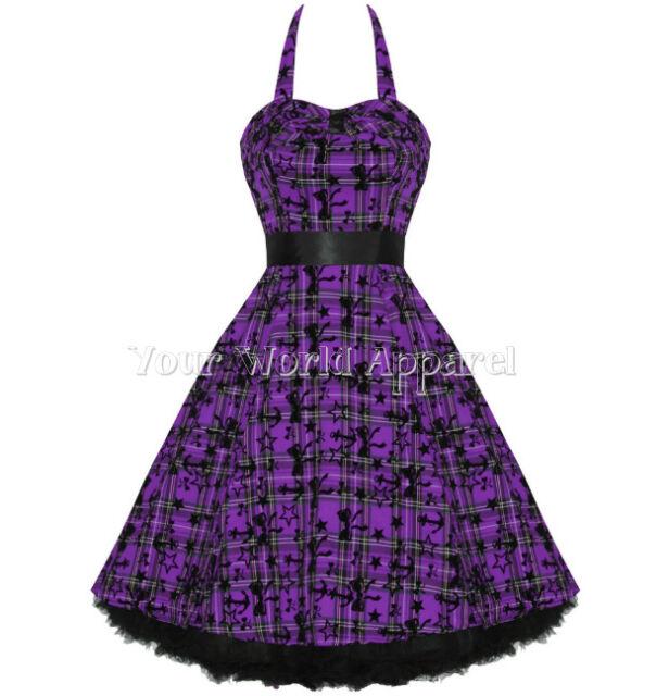 H&R LONDON PLAID PURPLE BLACK TARTAN DRESS NAUTICAL RETRO PIN UP VINTAGE GOTH