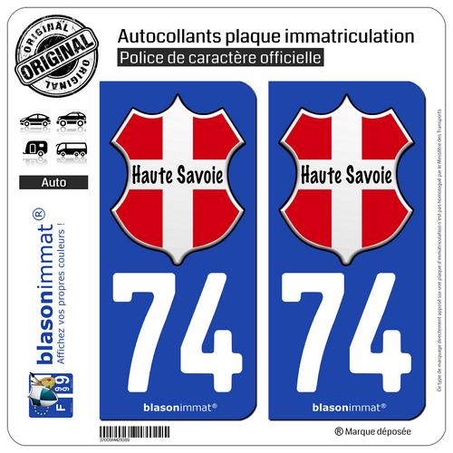 2 Autocollants Plaque Immatriculation Auto : 74 Haute-savoie - L'authentique