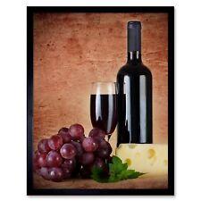 AD DRINK ALCOHOL WINE VINO RED ROUGE VINEYARD FRANCE FRAMED ART PRINT B12X5766