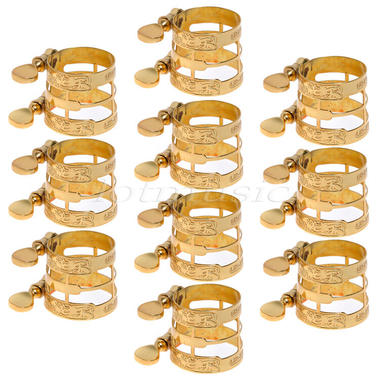 10 Pcs Gold Carving Ligature for Alto Sax And Clarinet Parts Replacement