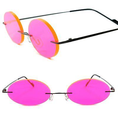 Cartoon Anime Manga Rimless Costume Party Cosplay Pink Round Lens Sun Glasses