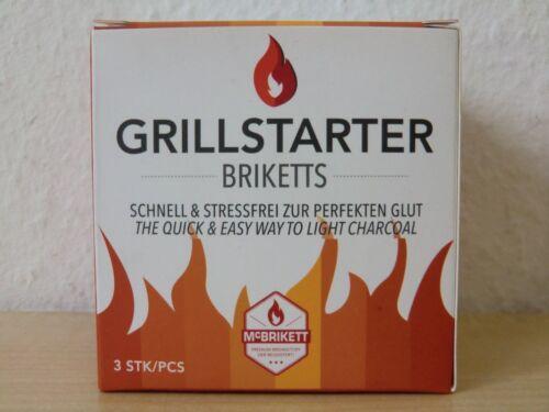 3 x McBrikett Grillstarter Briketts Grill Holzkohle Anzünder Grillanzünder