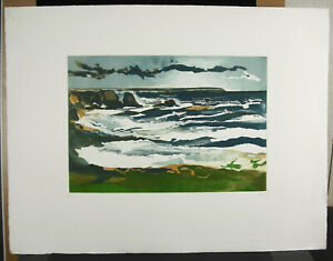 Print-Original-Towards-1980-Signed-034-Herve-034-Num-48-100-Bords-De-Sea-Brittany