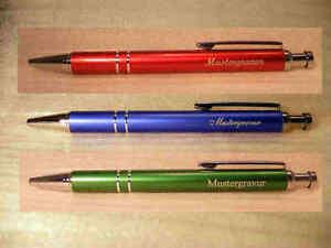 3Stück Kugelschreiber rot grün blau 3erPack incl Gravur