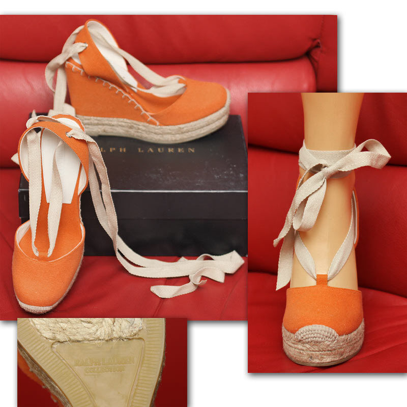 295 RALPH LAUREN COLLECTION Tangerine ESPADRILLE SHOES w  Price & Box (9)