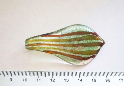 60mm Glass Leaf Pendant Stripes Green Silver Foil Leaf shaped Pendant