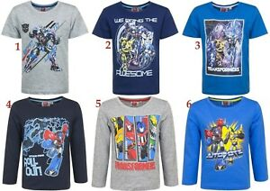 Boys-Kids-Children-Transformers-Short-Long-Sleeve-Tee-T-Shirt-Top-age-3-8-years