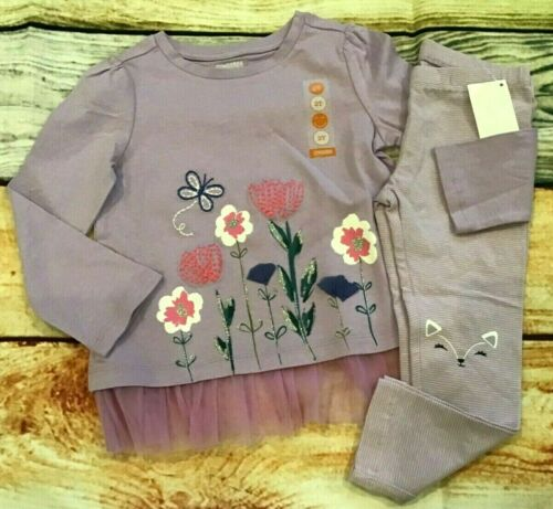 Gymboree 2T Set Woodland Weekend Tulle Flower Top Fox Bear Leggings NWT Outlet