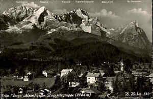 1957 Stempel 13b KRÜN auf alter s/w Postkarte Gesamtansicht mit Zugspitze Alpen