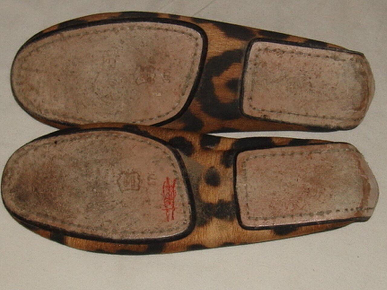 Giambattista Valli italiano Marrón Negro Estampado de 37,5 Leopardo Pisos De Lona 37,5 de 7.5 US 79143a