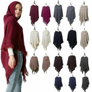 Women-Cloak-Hood-Sweaters-Knit-Batwing-Top-Poncho-With-Cape-Coat-Tassel-Outwear