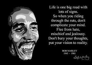 Bob Marley Quote 1 Inspirational Artwork Reggae Legend Print Retro