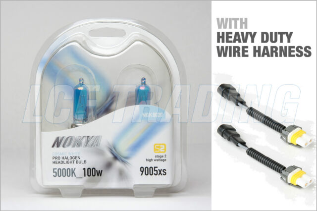 NOKYA Halogen Light Bulbs+Wire Harnesses H9 Cosmic White 5000K 100W