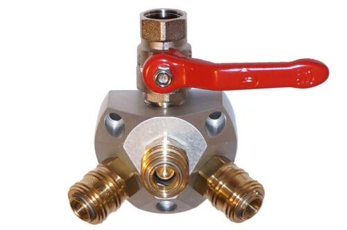 Pressured Air Splitter Aluminum Luftverteilerdose M.3 Coupling and Ball Valve