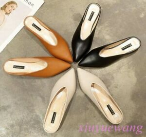 Chic-Womens-Pointy-Toe-PU-Leather-Fashion-Low-Heel-Slippers-Shoes-Slip-on-Mules
