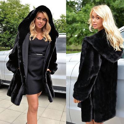 Womens Winter Outerwear Faux Fur Hooded Parka Loose Hoodie Coats Jacket Overcoat