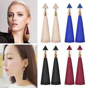 Pair-Women-Ladies-Fashion-Rhinestone-Earrings-9CM-Long-Tassel-Dangle-Fringe-Drop