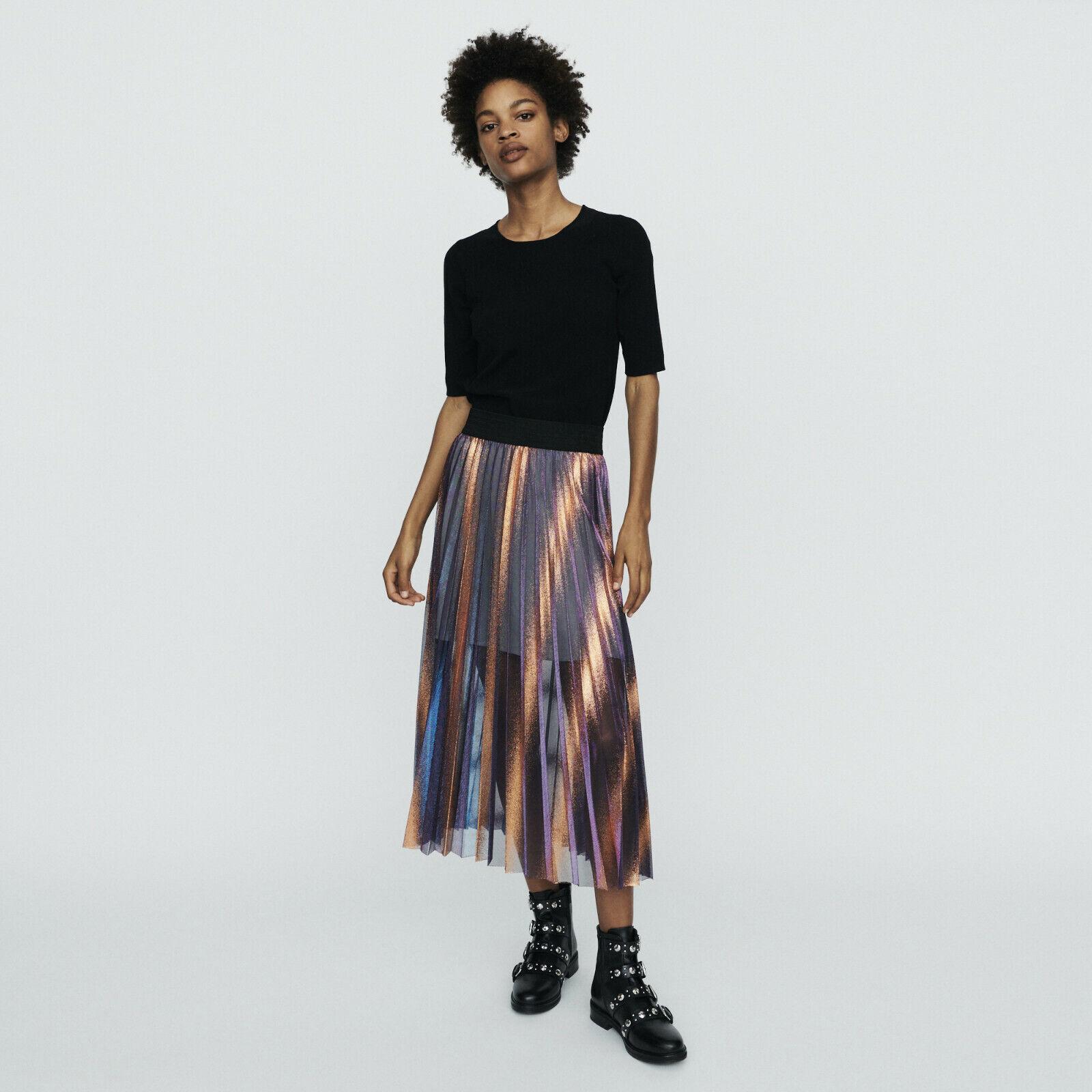 MAJE JAJA Pleated And Iridescent Long Skirt Size M Orig.  NWT