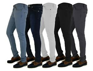 Mens-Jeans-Ajustados-Denim-Super-Stretch-Slim-Fit-todos-los-tamanos-de-la-cintura-y-piernas-Negro