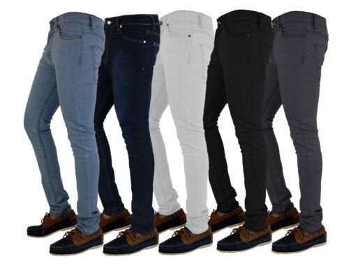 Da Uomo Skinny Jeans in denim super stretch Slim Fit Tutte Le Taglie Vita E Gamba Nero Blu