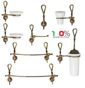 Accessori Bagno In Ottone.Dettagli Su Set Accessori Bagno Fiocco Ottone Bronzo Ceramica Made In Italy Alta Qualita
