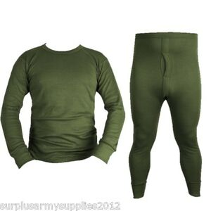 MILITARY GREEN THERMAL TOP BOTTOMS LONG JOHNS UNDERWEAR VEST ...